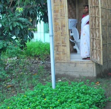 Biotoilet with low cost superstructure using local materials