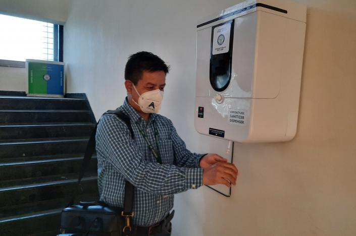 Contactless Sanitizer Dispenser (CSD) developed by DRDO-CFEES